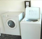 The modern, efficient washers in our laundry can handle the average families laundry needs, we have a dryer and drying area available. Soap powder is available at reception.